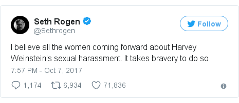 Twitter post by @Sethrogen: I believe all the women coming forward about Harvey Weinstein's sexual harassment. It takes bravery to do so.