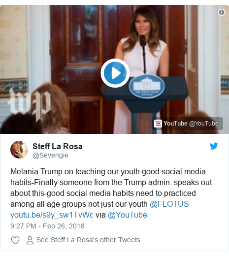 Twitter post by @Sevengie: Melania Trump on teaching our youth good social media habits-Finally someone from the Trump admin. speaks out about this-good social media habits need to practiced among all age groups not just our youth @FLOTUS  via @YouTube