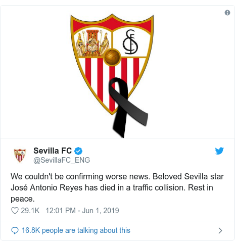 @SevillaFC_ENG tarafından yapılan Twitter paylaşımı: We couldn't be confirming worse news. Beloved Sevilla star José Antonio Reyes has died in a traffic collision. Rest in peace.