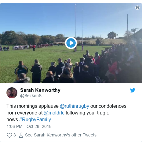 Twitter post by @SezkenS: This mornings applause @ruthinrugby our condolences from everyone at @moldrfc following your tragic news.#RugbyFamily