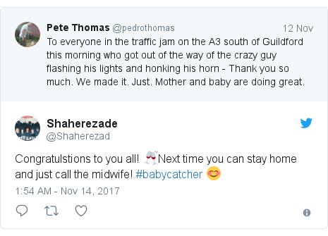Twitter post by @Shaherezad: Congratulstions to you all! 🥂Next time you can stay home and just call the midwife! #babycatcher 😊