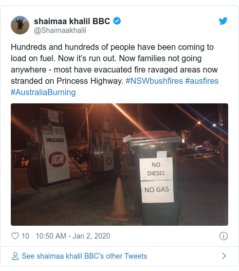 Twitter post by @Shaimaakhalil: Hundreds and hundreds of people have been coming to load on fuel. Now it's run out. Now families not going anywhere - most have evacuated fire ravaged areas now stranded on Princess Highway. #NSWbushfires #ausfires #AustraliaBurning