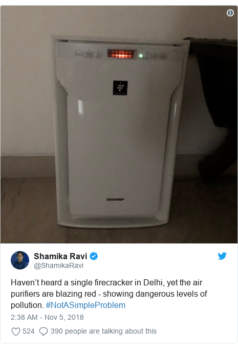 Twitter post by @ShamikaRavi: Haven't heard a single firecracker in Delhi, yet the air purifiers are blazing red - showing dangerous levels of pollution. #NotASimpleProblem