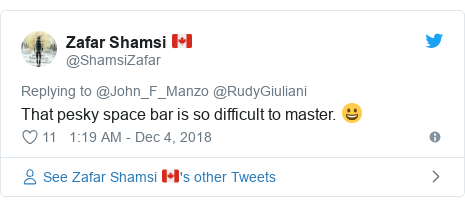 Twitter post by @ShamsiZafar: That pesky space bar is so difficult to master. 😀
