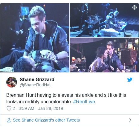 Twitter post by @ShaneRedHat: Brennan Hunt having to elevate his ankle and sit like this looks incredibly uncomfortable. #RentLive