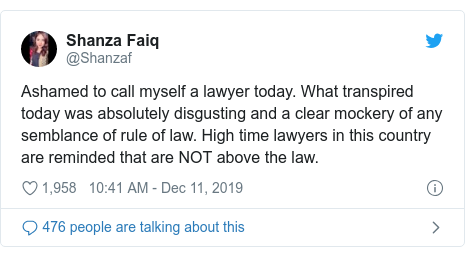 Twitter post by @Shanzaf: Ashamed to call myself a lawyer today. What transpired today was absolutely disgusting and a clear mockery of any semblance of rule of law. High time lawyers in this country are reminded that are NOT above the law.