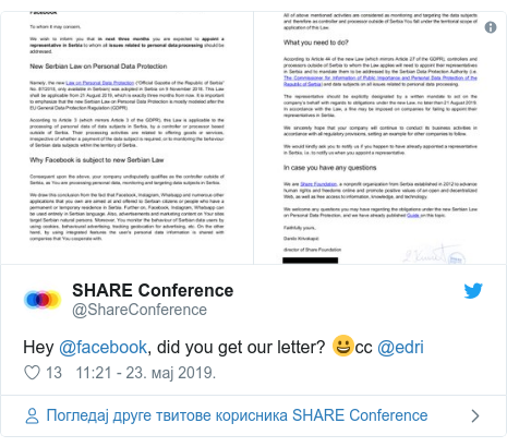 Twitter post by @ShareConference: Hey @facebook, did you get our letter? 😀cc @edri