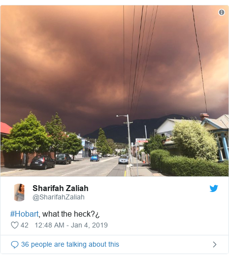 Twitter post by @SharifahZaliah: #Hobart, what the heck?¿
