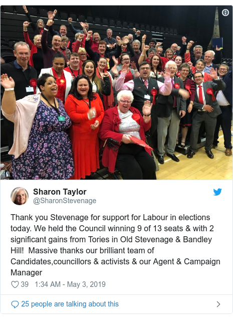 Twitter post by @SharonStevenage: Thank you Stevenage for support for Labour in elections today. We held the Council winning 9 of 13 seats & with 2 significant gains from Tories in Old Stevenage & Bandley Hill!  Massive thanks our brilliant team of Candidates,councillors & activists & our Agent & Campaign Manager