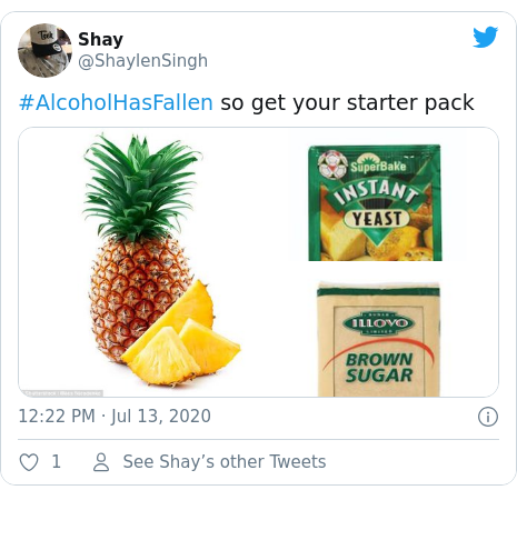 Twitter post by @ShaylenSingh: #AlcoholHasFallen so get your starter pack