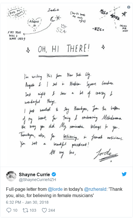 Twitter post by @ShayneCurrieNZH: Full-page letter from @lorde in today's @nzherald  'Thank you, also, for believing in female musicians'