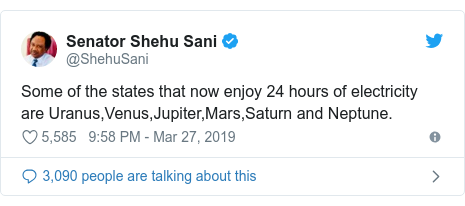 Twitter post by @ShehuSani: Some of the states that now enjoy 24 hours of electricity are Uranus,Venus,Jupiter,Mars,Saturn and Neptune.