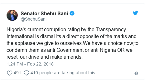 Twitter post by @ShehuSani: Nigeria's current corruption rating by the Transparency International is dismal.Its a direct opposite of the marks and the applause we give to ourselves.We have a choice now;to condemn them as anti Government or anti Nigeria OR we reset  our drive and make amends.