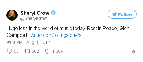 Twitter post by @SherylCrow