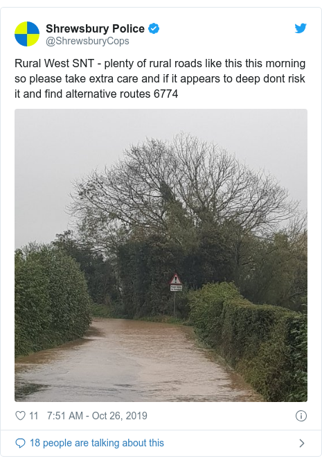 Twitter post by @ShrewsburyCops: Rural West SNT - plenty of rural roads like this this morning so please take extra care and if it appears to deep dont risk it and find alternative routes 6774