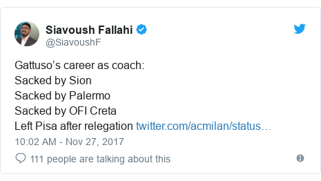 Twitter post by @SiavoushF: Gattuso's career as coach  Sacked by SionSacked by Palermo Sacked by OFI Creta Left Pisa after relegation