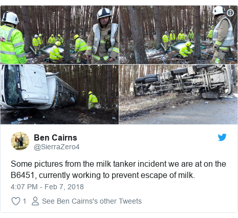 Twitter post by @SierraZero4: Some pictures from the milk tanker incident we are at on the B6451, currently working to prevent escape of milk.