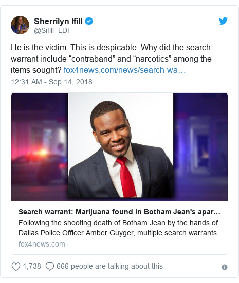 "Twitter post by @Sifill_LDF: He is the victim. This is despicable. Why did the search warrant include ""contraband"" and ""narcotics"" among the items sought?"