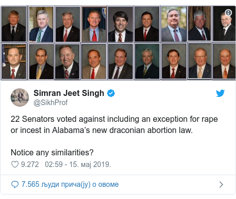 Twitter post by @SikhProf: 22 Senators voted against including an exception for rape or incest in Alabama's new draconian abortion law. Notice any similarities?