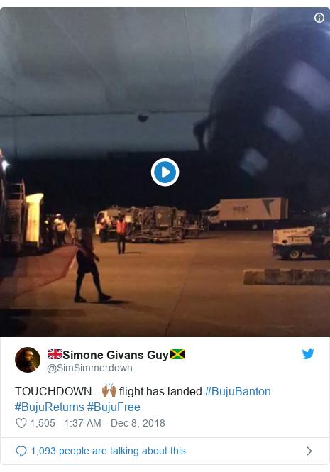 Twitter post by @SimSimmerdown: TOUCHDOWN...🙌🏾 flight has landed #BujuBanton #BujuReturns #BujuFree
