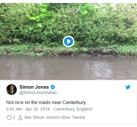 Twitter post by @SimonJonesNews: Not nice on the roads near Canterbury.