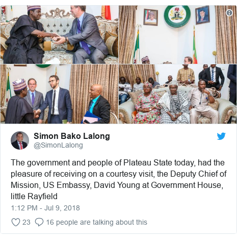 Twitter post by @SimonLalong: The government and people of Plateau State today, had the pleasure of receiving on a courtesy visit, the Deputy Chief of Mission, US Embassy, David Young at Government House, little Rayfield