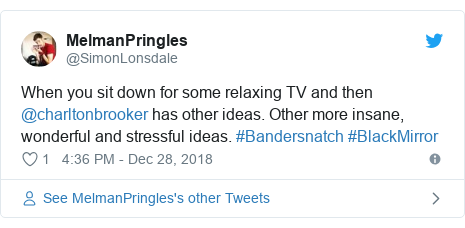 Twitter post by @SimonLonsdale: When you sit down for some relaxing TV and then @charltonbrooker has other ideas. Other more insane, wonderful and stressful ideas. #Bandersnatch #BlackMirror