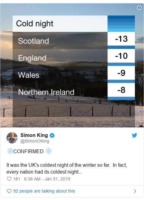 Twitter post by @SimonOKing: ❄CONFIRMED ❄It was the UK's coldest night of the winter so far.  In fact, every nation had its coldest night...