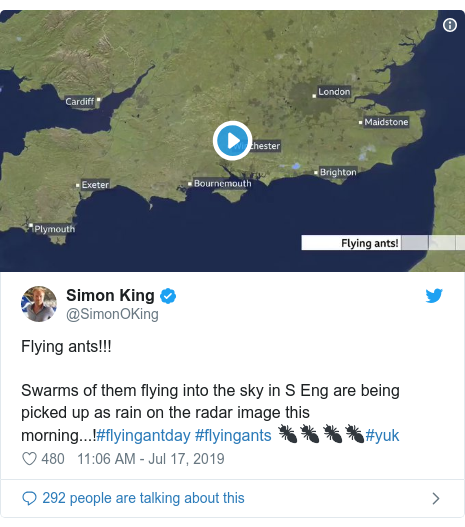 Twitter post by @SimonOKing: Flying ants!!! Swarms of them flying into the sky in S Eng are being picked up as rain on the radar image this morning...!#flyingantday #flyingants 🐜🐜🐜🐜#yuk