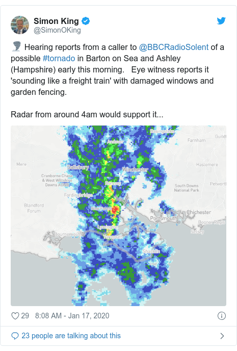 Twitter post by @SimonOKing: 🌪️ Hearing reports from a caller to @BBCRadioSolent of a possible #tornado in Barton on Sea and Ashley (Hampshire) early this morning.   Eye witness reports it 'sounding like a freight train' with damaged windows and garden fencing. Radar from around 4am would support it...