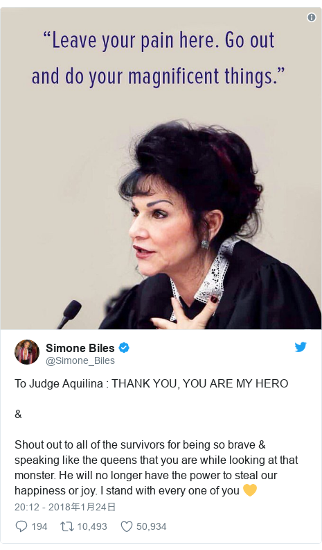 Twitter post by @Simone_Biles: To Judge Aquilina   THANK YOU, YOU ARE MY HERO& Shout out to all of the survivors for being so brave & speaking like the queens that you are while looking at that monster. He will no longer have the power to steal our happiness or joy. I stand with every one of you 💛
