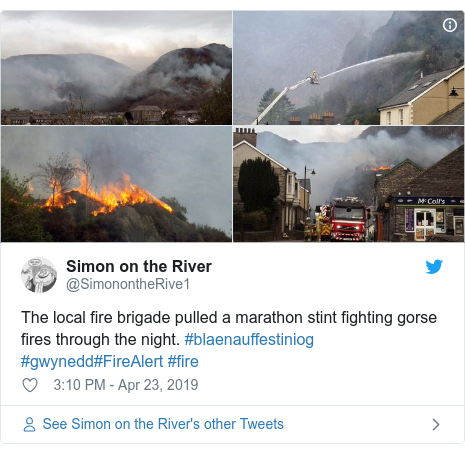 Twitter post by @SimonontheRive1: The local fire brigade pulled a marathon stint fighting gorse fires through the night. #blaenauffestiniog #gwynedd#FireAlert #fire