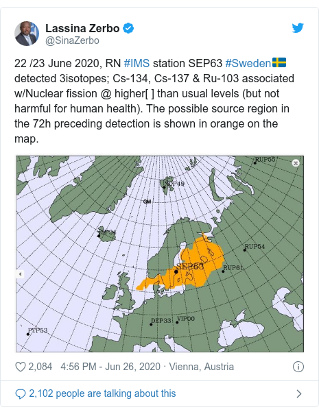 Twitter post by @SinaZerbo: 22 /23 June 2020, RN #IMS station SEP63 #Sweden🇸🇪 detected 3isotopes; Cs-134, Cs-137 & Ru-103 associated w/Nuclear fission @ higher[ ] than usual levels (but not harmful for human health). The possible source region in the 72h preceding detection is shown in orange on the map.