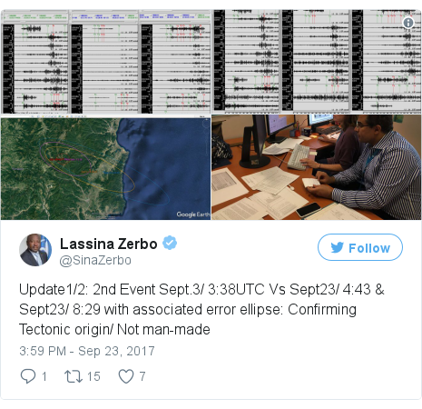 Twitter post by @SinaZerbo: Update1/2  2nd Event Sept.3/ 3 38UTC Vs Sept23/ 4 43 & Sept23/ 8 29 with associated error ellipse  Confirming Tectonic origin/ Not man-made pic.twitter.com/VTgbYTAnpA