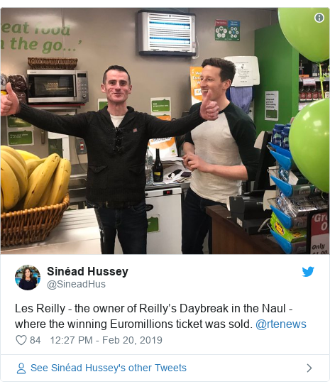 Twitter post by @SineadHus: Les Reilly - the owner of Reilly's Daybreak in the Naul - where the winning Euromillions ticket was sold. @rtenews