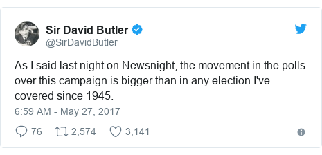 Twitter post by @SirDavidButler: As I said last night on Newsnight, the movement in the polls over this campaign is bigger than in any election I've covered since 1945.