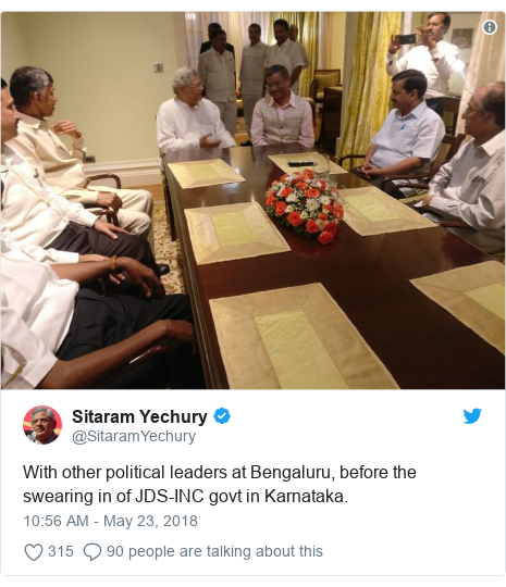 Twitter post by @SitaramYechury: With other political leaders at Bengaluru, before the swearing in of JDS-INC govt in Karnataka.