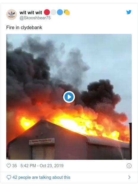 Twitter post by @Skooshbear75: Fire in clydebank