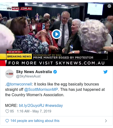 Twitter post by @SkyNewsAust: .@tomwconnell  It looks like the egg basically bounces straight off @ScottMorrisonMP. This has just happened at the Country Women's Association.MORE   #newsday