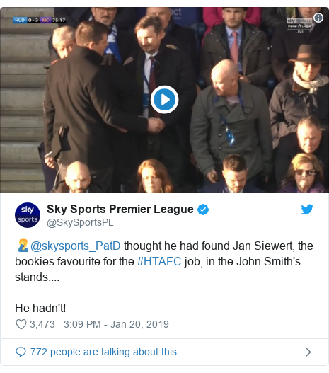 Twitter post by @SkySportsPL: 🤦‍♂️@skysports_PatD thought he had found Jan Siewert, the bookies favourite for the #HTAFC job, in the John Smith's stands.... He hadn't!