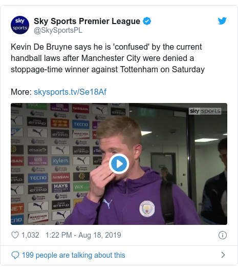 Twitter post by @SkySportsPL: Kevin De Bruyne says he is 'confused' by the current handball laws after Manchester City were denied a stoppage-time winner against Tottenham on SaturdayMore