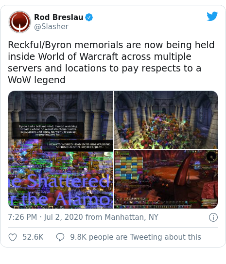 Twitter post by @Slasher: Reckful/Byron memorials are now being held inside World of Warcraft across multiple servers and locations to pay respects to a WoW legend