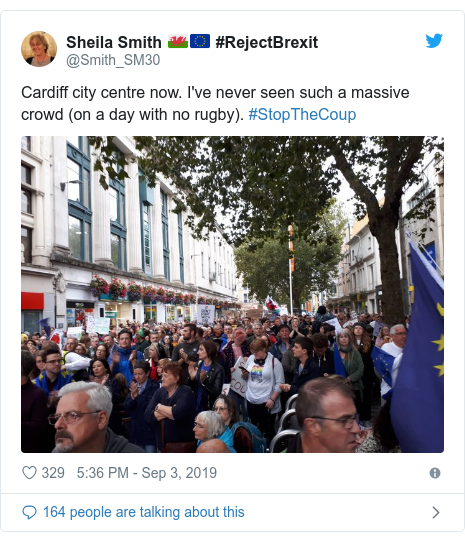 Twitter post by @Smith_SM30: Cardiff city centre now. I've never seen such a massive crowd (on a day with no rugby). #StopTheCoup