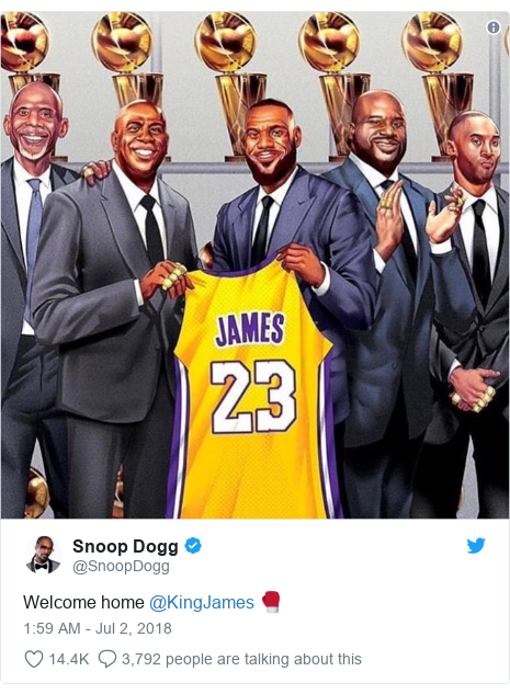 Twitter post by @SnoopDogg: Welcome home @KingJames 🥊