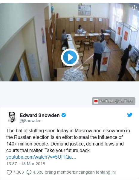 Twitter pesan oleh @Snowden: The ballot stuffing seen today in Moscow and elsewhere in the Russian election is an effort to steal the influence of 140+ million people. Demand justice; demand laws and courts that matter. Take your future back.