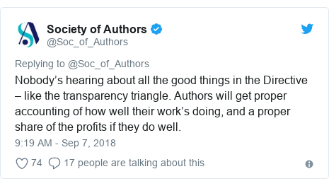 Twitter post by @Soc_of_Authors: Nobody's hearing about all the good things in the Directive – like the transparency triangle. Authors will get proper accounting of how well their work's doing, and a proper share of the profits if they do well.