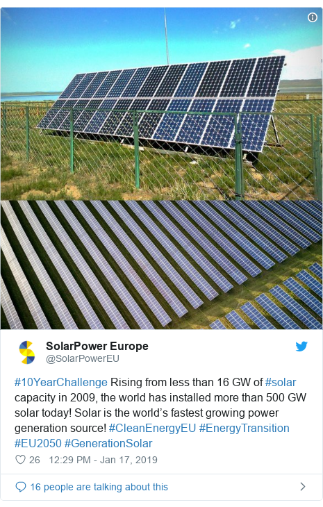 Twitter post by @SolarPowerEU: #10YearChallenge Rising from less than 16 GW of #solar capacity in 2009, the world has installed more than 500 GW solar today! Solar is the world's fastest growing power generation source! #CleanEnergyEU #EnergyTransition #EU2050 #GenerationSolar