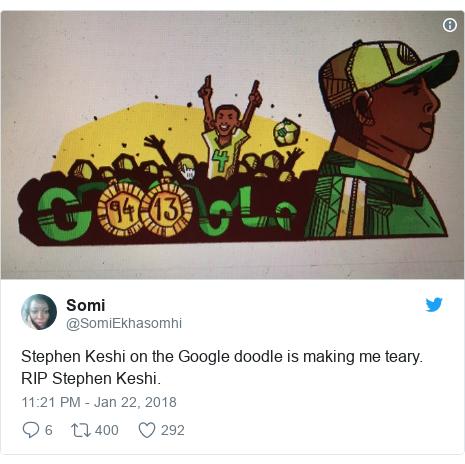 Twitter post by @SomiEkhasomhi: Stephen Keshi on the Google doodle is making me teary. RIP Stephen Keshi.