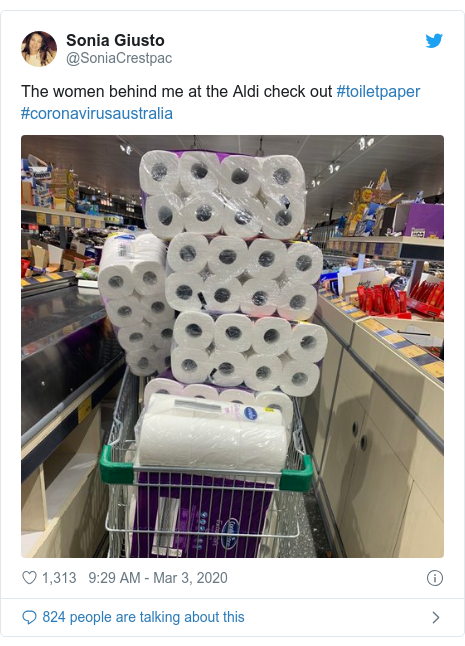 Twitter post by @SoniaCrestpac: The women behind me at the Aldi check out #toiletpaper #coronavirusaustralia