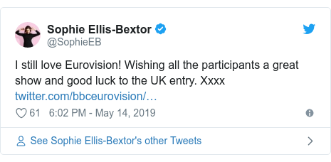 Twitter post by @SophieEB: I still love Eurovision! Wishing all the participants a great show and good luck to the UK entry. Xxxx